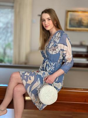 Robe bleue imprimée