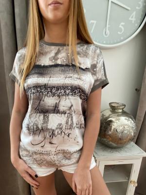 T.shirt taupe imprimé