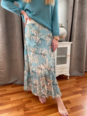 Jupe plissée turquoise imprimée beige