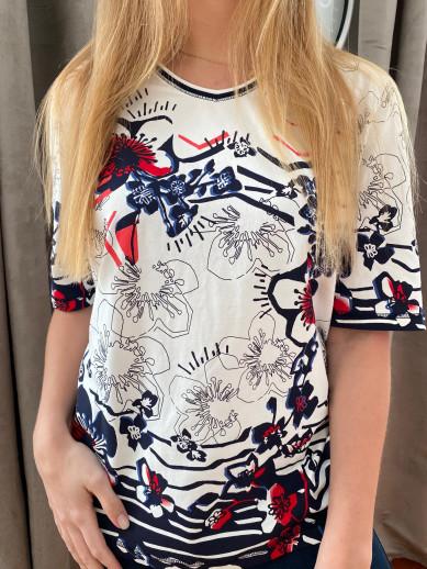 Lebek t.shirt marine et rouge col V