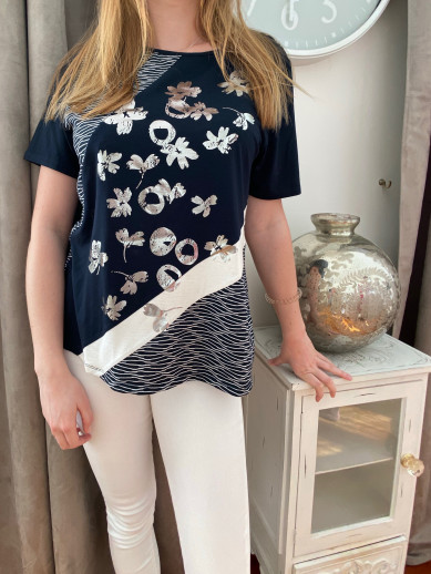 Lebek T.shirt marine ,blanc,argent